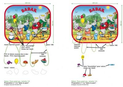 """simulation de placement et composition graphique d'images sous licence """"Babar"""" pour des objets de confort auto pour enfants. Pare-soleil-jeu"""