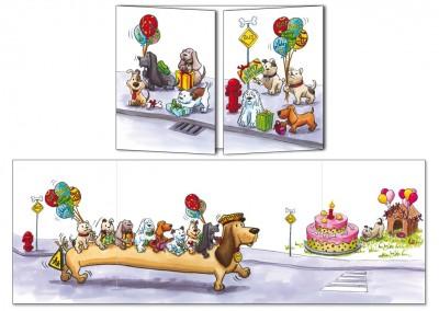 """Carte d'anniversaire Cache-cache Les chiens """"Bus stop"""""""