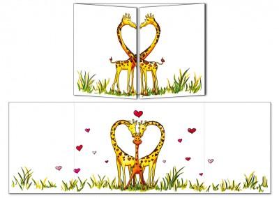 """Carte postale Cache-cache """"La famille girafes"""""""