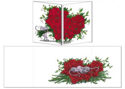 """Carte postale Cache-cache """"Le bouquet de roses"""""""