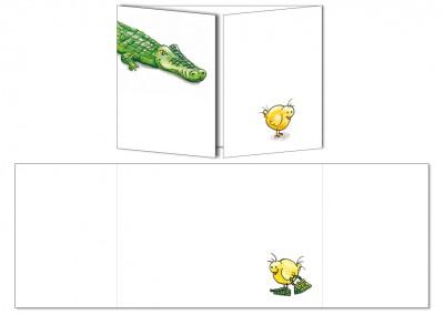 """Carte postale Cache-cache """"Le poussin et le crocodile"""""""
