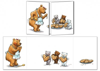 "Carte postale Cache-cache ""Maman ours"""