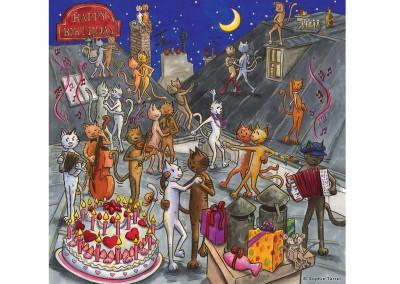 Carte fiesta anniversaire chats