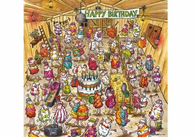 Carte fiesta anniversaire moutons