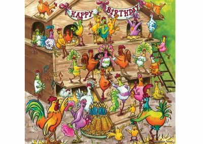 Carte fiesta anniversaire poules