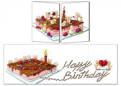 """Carte d'anniversaire Cache-cache """"Les hamsters et le gâteau"""""""