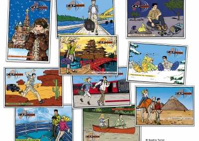Création de cartes postales commerciales pour magasin d'équipements de voyage