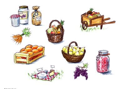 """Série d' illustrations pour """"Charette gourmande"""""""