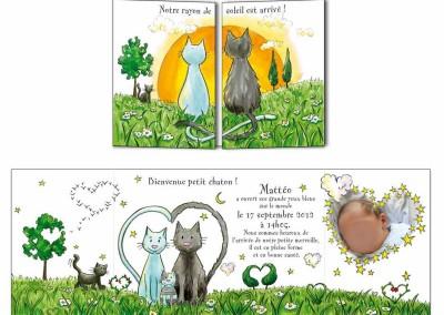 """Faire-part naissance """"Les chats"""""""