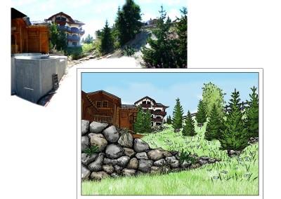 Illustrations du paysage avec enrochement après des travaux.