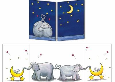 """Faire-part naissance """"Les Elephants jumeaux"""""""