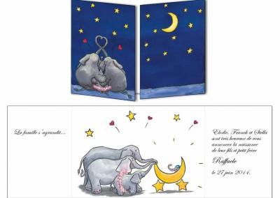 """Faire-part naissance """"Les Elephants sœur"""""""