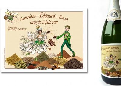 Etiquette de bouteille de Champagne assortie au faire-part de mariage