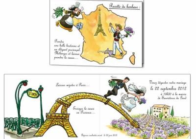 """Faire-part de mariage """"rencontre à Paris"""""""