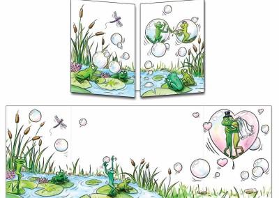Faire-part mariage grenouille bulles