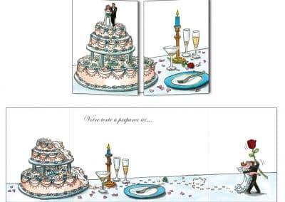 Création du faire-part mariage Les mariés du gâteau par Sophie Turrel