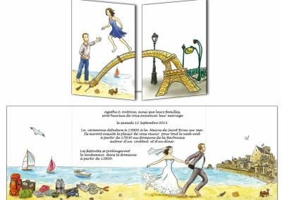 """Faire-part mariage """"Paris-Bretagne"""""""