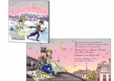 """Faire-part mariage """"Paris-Savoie"""""""