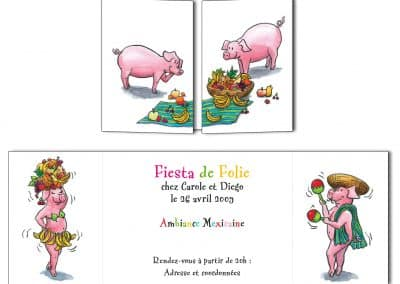 "Carte d'invitation ""La Fiesta des cochons"""