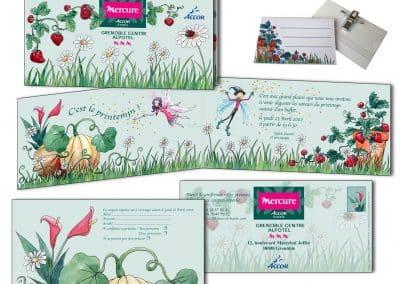 Créatin d'un carton d'invitation, carte de retour et badges assorti, fête du printemps d'un hötel mercure