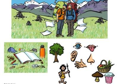 """Illustrations pour """"Les colporteurs"""", accompagnateurs montagne nature."""