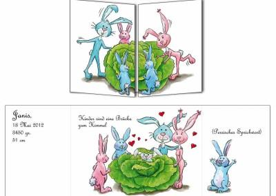 """Faire-part naissance """"Les lapins"""""""