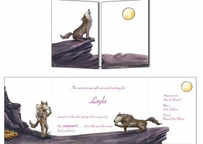 """Faire-part naissance """"Les loups"""""""