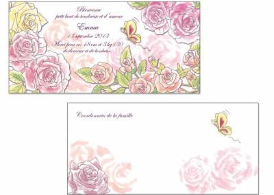 """Faire-part naissance """"Les roses"""""""