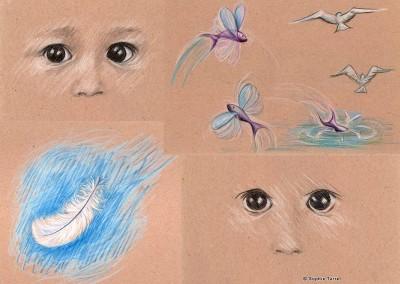 """Illustrations réalisées pour projet de livre pour enfant """"Miette""""."""