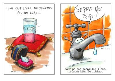 Illustrations : campagne pour la protection de l'eau.