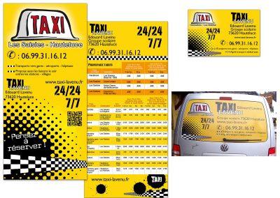 Flyer, carte de visite et sticker pour véhicule Taxi Lavenu