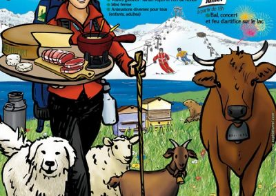 """Affiche pour les jeunes agriculteurs de Savoie, """"La fête de la terre"""""""