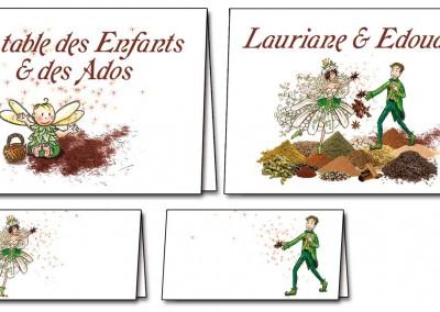 Chevalets de tables et placement des invités mariage Elfes