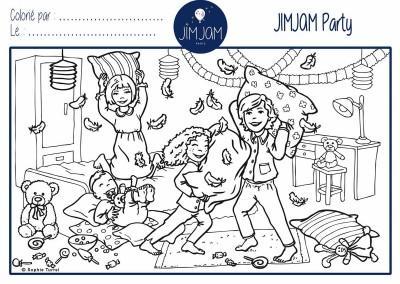 """Dessins pour coloriages, marque de pyjamas enfants """"JIMJAM"""", bataille de polochons"""