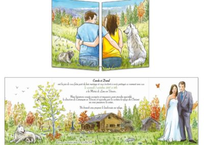 """Faire-part mariage """"gite de montagne"""""""