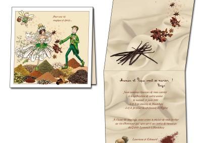 Faire-part de mariage thème de épices et elfes