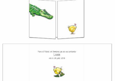 """Faire-part naissance """"Le poussin et le croco"""""""