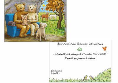 """Faire-part naissance """"La familles ours"""""""