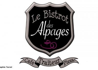 Logo créé pour Le Bistrot des Alpages, traiteur, café et pizza