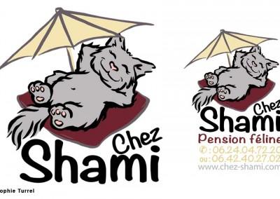 Logo dessiné pour la pension féline Chez Shami