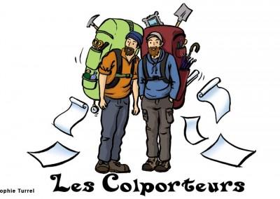 Dessin stylisé pour logo Les colporteurs, accompagnateurs montagne