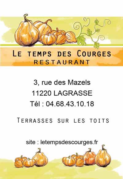 Logo pour le restaurant Le temps des courges dans l'Aude