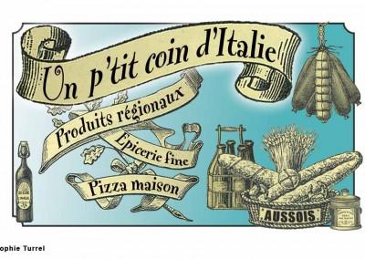 Création du logo épicerie Un p'tit coin d'Italie, style rétro