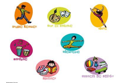 Illustrations pour la plaquette présentant les activités d'une MJC
