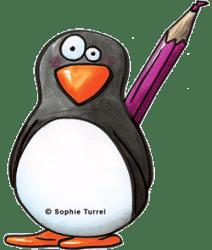 Pictogramme pingouin et son crayon