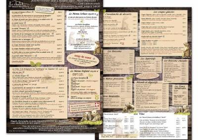 """Carte restaurant """"Le chalet des marmottes"""""""
