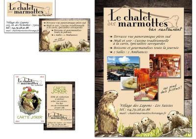 """Création logo et identité visuelle restaurant """"Le chalet des marmottes"""""""