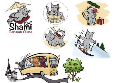"""Logo et identité visuelle """"Chez Shami"""""""