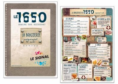 """Carte Brasserie """"Le 1650"""""""