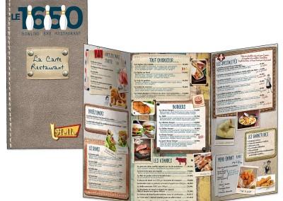 """Carte Restaurant-bowling """"Le 1650"""""""
